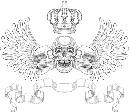 19th: Nice coat of arms with skulls. Hand engraved Illustration
