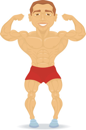 muscleman is showing his muscles. Isolated on white Stock Vector - 8908928
