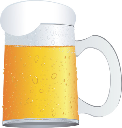 spilling: A mug of beer isolated on white Illustration