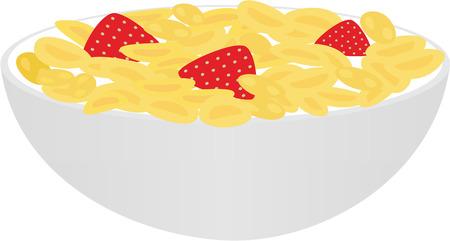 corn flakes: flocons de ma�s isol�s sur fond blanc Illustration