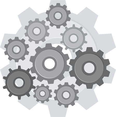 gearings: Set of gears  isolated on white Illustration