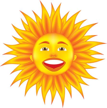 hot sun isolated on white Stock Vector - 9044697