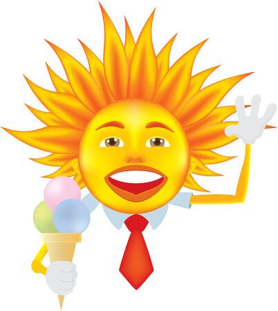 sun tan: Sol con helado aislado en blanco Vectores