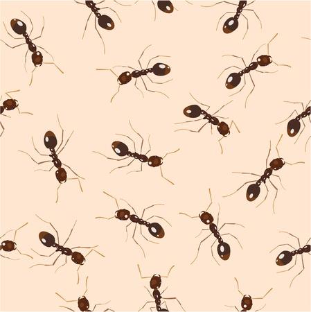 Crowling ants. Seamless pattern