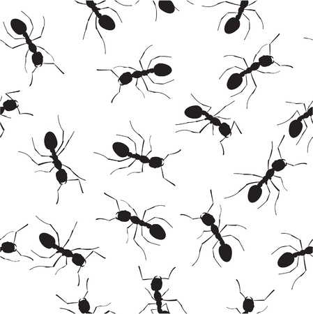 Crowling ants. Seamless pattern Vector