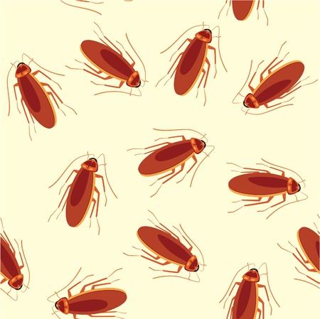 seamless pattern of crawling cockroach