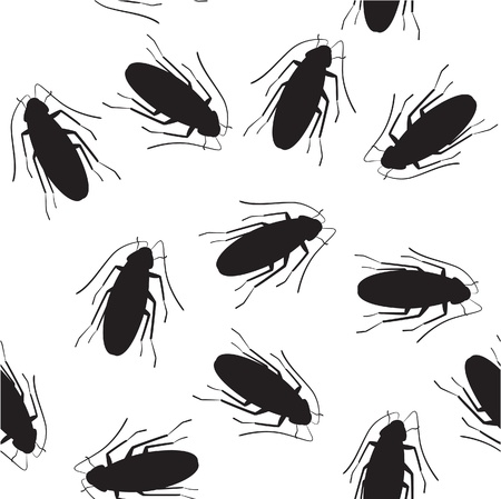 revolting: seamless pattern of crawling cockroach