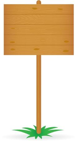 pancarte bois: Panneau en bois isol� sur blanc Illustration