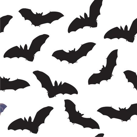 webbed: seamless pattern of flying bats