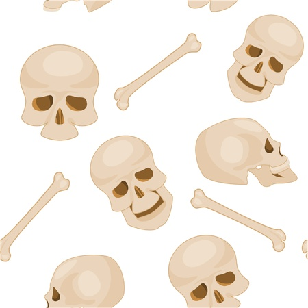 seamless pattern of human skulls Vector