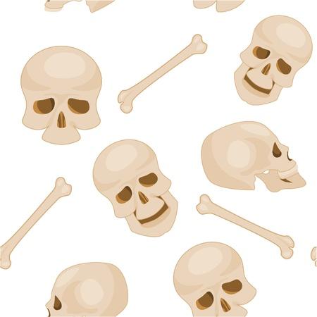 seamless pattern of human skulls Vector