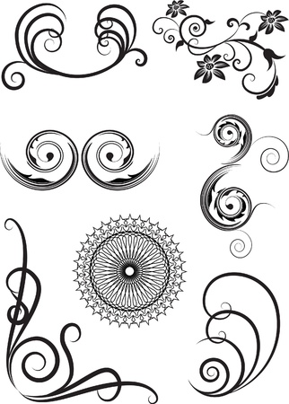 set of the swirl elements Vector