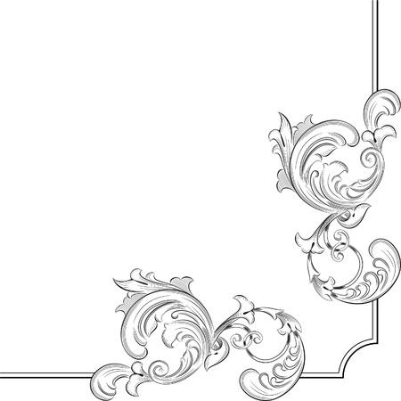 Gravur Muster für eine ideale Seite Ecke Standard-Bild - 11998231
