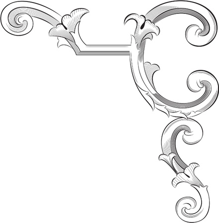 Engraving pattern of perfect page corner element Vector