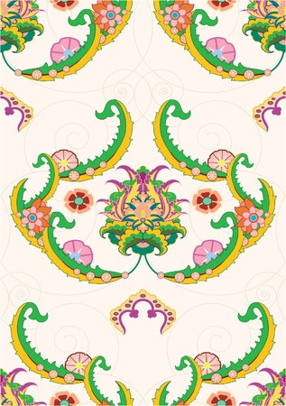 digitally generated image: seamless paterrn of ornate flower Illustration