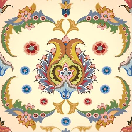 ペルシア: ペルシャの花とのシームレスな背景  イラスト・ベクター素材