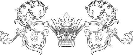 engrave: Engraving design of skull with crown