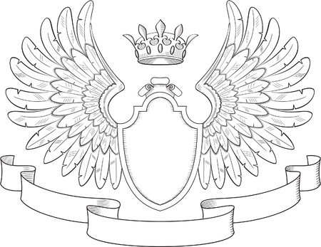 Engraved heraldry symbol for luxury design Vector
