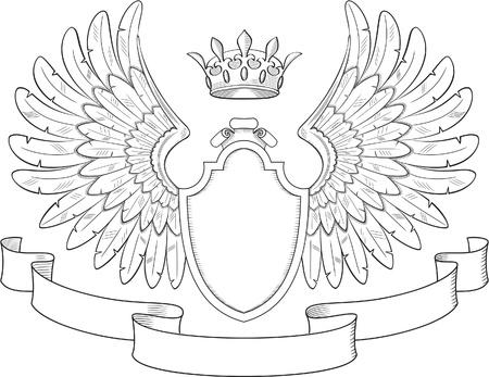 crown wings: Engraved heraldry symbol for luxury design