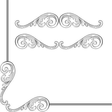 Elegance baroque elements for frame or ornament Illustration
