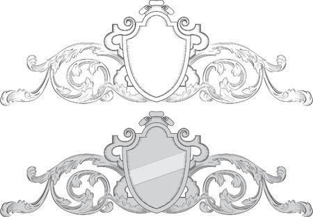acanto: Escudo barroco Vectores