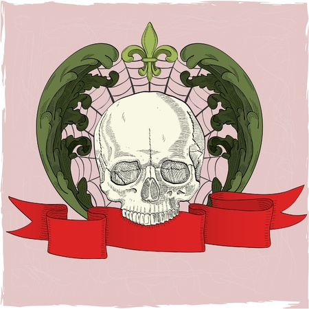 The image with human skull, red ribbon and acunthus Stock Vector - 11998307