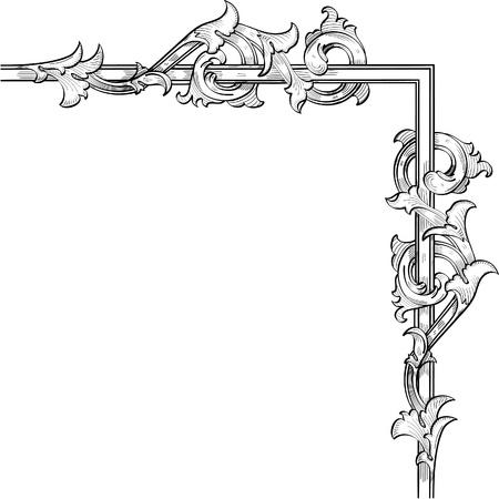 acanto: Flores Acunthus remolino de los marcos de buenas Vectores
