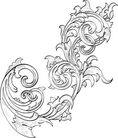 filigree: Perfectacunthus laat in engravin techniek Stock Illustratie