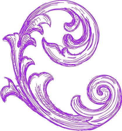 Acunthus hand drawing image Illusztráció