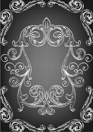 acanto: Enfriar el marco negro para su mejor Vectores