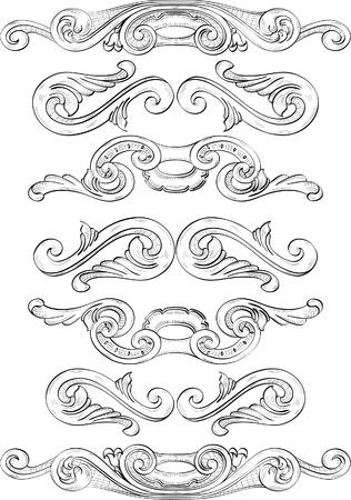 acanto: Divide los elementos dibujados en la t�cnica de grabado Vectores