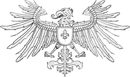 tatouage oiseau: Aigle avec le bouclier isol� sur blanc Illustration