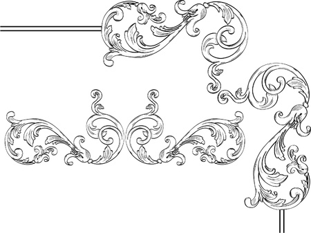 acanthus: Beautiful flower like corner design elements Illustration