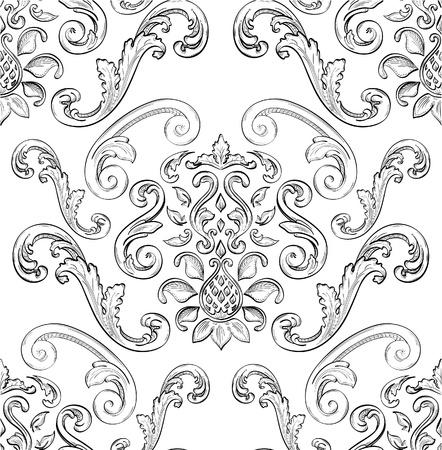 barok ornament: Naadloos patroon met mooie Oost-ornament Stock Illustratie