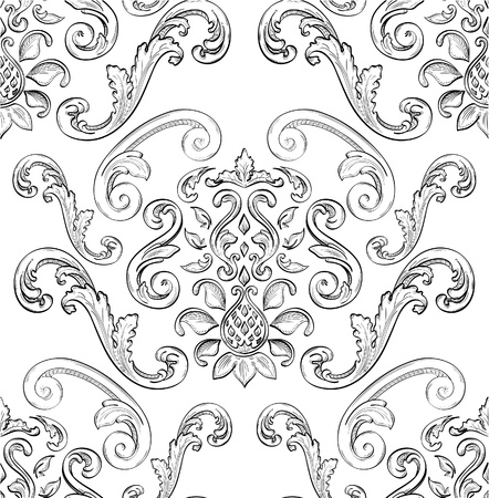barocco: Seamless pattern con bella ornamento Est Vettoriali