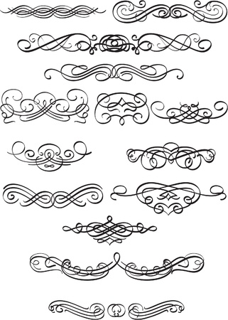 fleuron: Book scrolls isolated on white Illustration