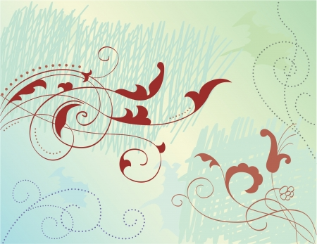 Nice illustration of swirl flowers Vector