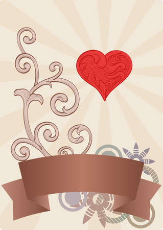 Lovely page with heart and banner Vector