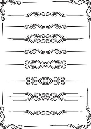 ozdobně: Knižní děliče nastavit izolovaných na bílém Ilustrace