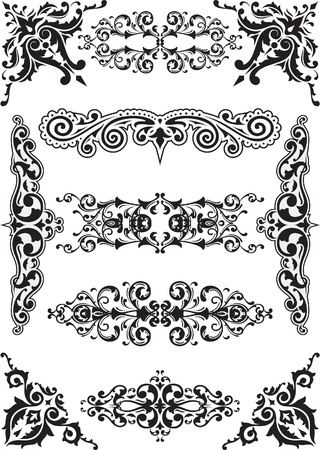Corner and dividers set on white Vector