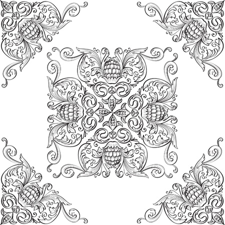 Corner elements and nice rosette Vector