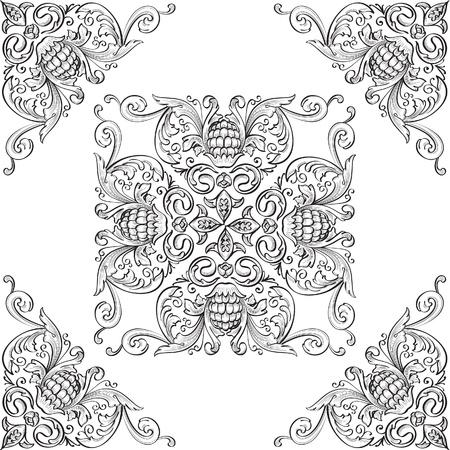Eckelemente und schöne Rosette Standard-Bild - 14335847