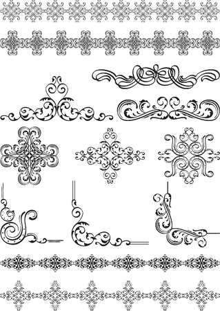 Vintage corners and divide set on white Stock Vector - 14335845
