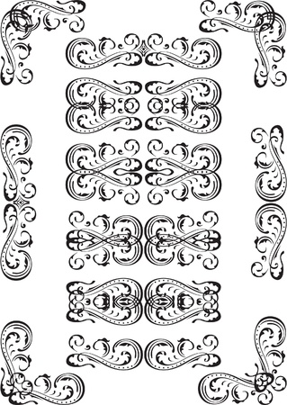 interweaving: Book ends set isolated on white Illustration