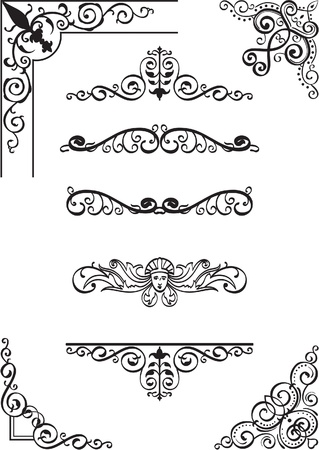 Swirl corner and divide set on white Stock Vector - 14335767