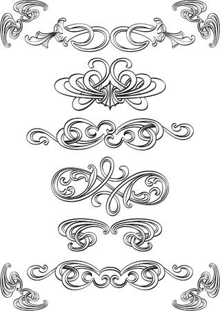interweaving: Elementi di Art turbinio impostati su bianco Vettoriali