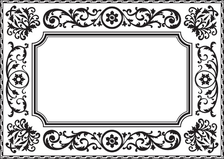 Baroque frame black and white Stock Vector - 14335762