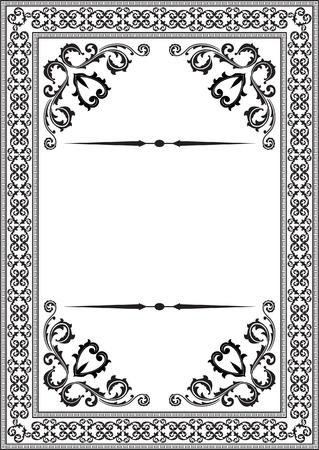 Baroque nice frame on white Illustration