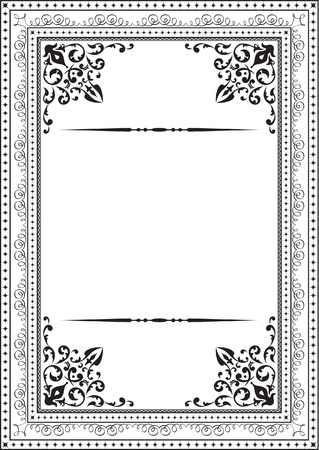 arabic style: Classic vintage frame on white Illustration