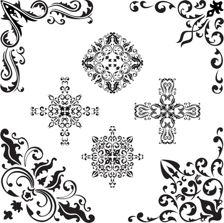 Corner elements set on white Stock Vector - 14335782